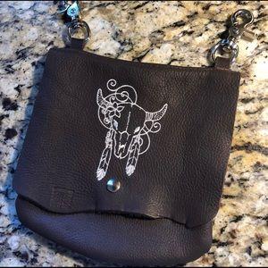 Handbags - NWOT Genuine Leather Embroidered Clip On Hip Bag